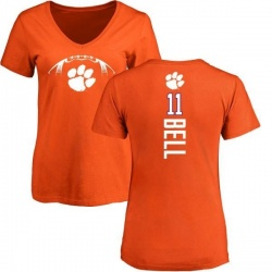 Women's Shadell Bell Clemson Tigers Football Backer V-Neck T-Shirt - Orange