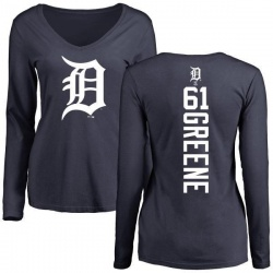 Women's Shane Greene Detroit Tigers Backer Slim Fit Long Sleeve T-Shirt - Navy