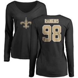 Women's Sheldon Rankins New Orleans Saints Name & Number Logo Slim Fit Long Sleeve T-Shirt - Black