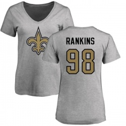 Women's Sheldon Rankins New Orleans Saints Name & Number Logo Slim Fit T-Shirt - Ash