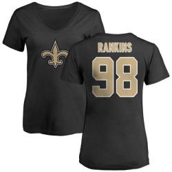 Women's Sheldon Rankins New Orleans Saints Name & Number Logo Slim Fit T-Shirt - Black