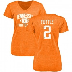 Women's Shy Tuttle Tennessee Volunteers Distressed Football Tri-Blend V-Neck T-Shirt - Tennessee Orange