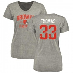Women's Simeon Thomas Cleveland Browns Heather Gray Distressed Name & Number Tri-Blend V-Neck T-Shirt