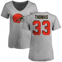 Women's Simeon Thomas Cleveland Browns Name & Number Logo Slim Fit T-Shirt - Ash
