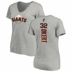 Women's Steven Okert San Francisco Giants Backer Slim Fit T-Shirt - Ash