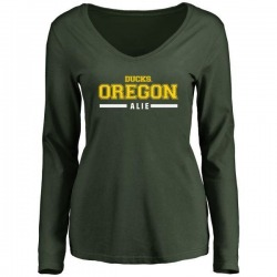 Women's Taylor Alie Oregon Ducks Sport Wordmark Long Sleeve T-Shirt - Green
