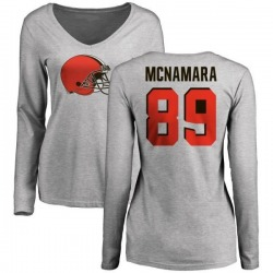 Women's Taylor McNamara Cleveland Browns Name & Number Logo Slim Fit Long Sleeve T-Shirt - Ash