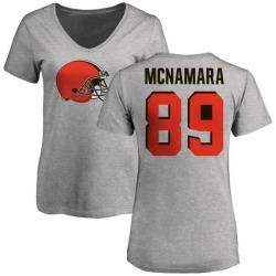 Women's Taylor McNamara Cleveland Browns Name & Number Logo Slim Fit T-Shirt - Ash
