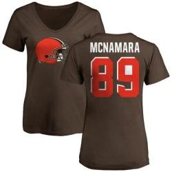 Women's Taylor McNamara Cleveland Browns Name & Number Logo Slim Fit T-Shirt - Brown