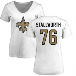 Women's Taylor Stallworth New Orleans Saints Name & Number Logo Slim Fit T-Shirt - White