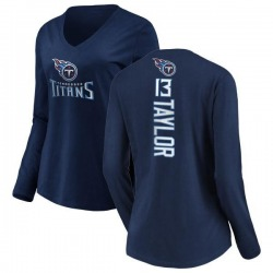Women's Taywan Taylor Tennessee Titans Backer Slim Fit Long Sleeve T-Shirt - Navy