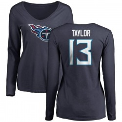 Women's Taywan Taylor Tennessee Titans Name & Number Logo Slim Fit Long Sleeve T-Shirt - Navy