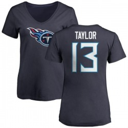 Women's Taywan Taylor Tennessee Titans Name & Number Logo Slim Fit T-Shirt - Navy