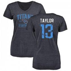 Women's Taywan Taylor Tennessee Titans Navy Distressed Name & Number Tri-Blend V-Neck T-Shirt