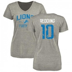 Women's Teo Redding Detroit Lions Heather Gray Distressed Name & Number Tri-Blend V-Neck T-Shirt