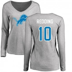 Women's Teo Redding Detroit Lions Name & Number Logo Slim Fit Long Sleeve T-Shirt - Ash