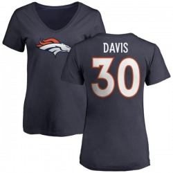 Women's Terrell Davis Denver Broncos Name & Number Logo Slim Fit T-Shirt - Navy