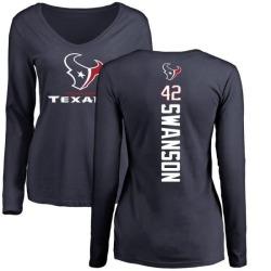Women's Terry Swanson Houston Texans Backer Slim Fit Long Sleeve T-Shirt - Navy
