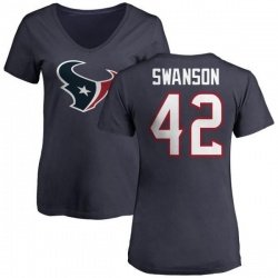 Women's Terry Swanson Houston Texans Name & Number Logo Slim Fit T-Shirt - Navy