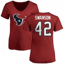 Women's Terry Swanson Houston Texans Name & Number Logo Slim Fit T-Shirt - Red