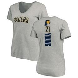 Women's Thaddeus Young Indiana Pacers Ash Backer T-Shirt