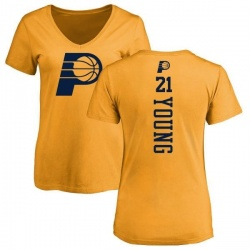 Women's Thaddeus Young Indiana Pacers Gold One Color Backer Slim-Fit V-Neck T-Shirt