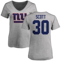 Women's Tim Scott New York Giants Name & Number Logo Slim Fit T-Shirt - Ash