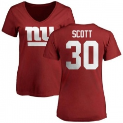 Women's Tim Scott New York Giants Name & Number Logo Slim Fit T-Shirt - Red