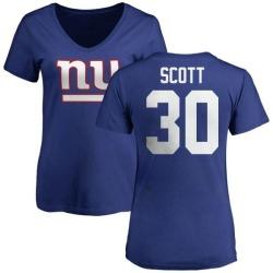Women's Tim Scott New York Giants Name & Number Logo Slim Fit T-Shirt - Royal