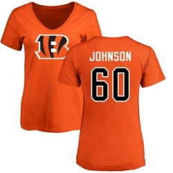 Women's T.J. Johnson Cincinnati Bengals Name & Number Logo Slim Fit T-Shirt - Orange