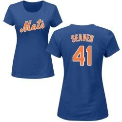 Women's Tom Seaver New York Mets Roster Name & Number T-Shirt - Royal