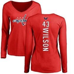 Women's Tom Wilson Washington Capitals Backer Long Sleeve T-Shirt - Red
