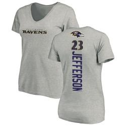 Women's Tony Jefferson Baltimore Ravens Backer V-Neck T-Shirt - Ash