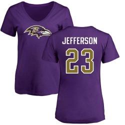Women's Tony Jefferson Baltimore Ravens Name & Number Logo Slim Fit T-Shirt - Purple