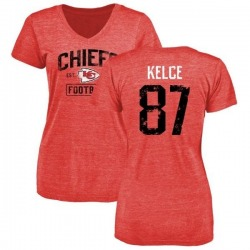 Women's Travis Kelce Kansas City Chiefs Red Distressed Name & Number Tri-Blend V-Neck T-Shirt