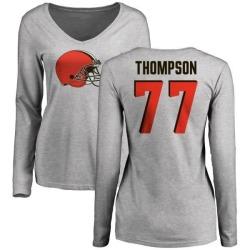 Women's Trenton Thompson Cleveland Browns Name & Number Logo Slim Fit Long Sleeve T-Shirt - Ash