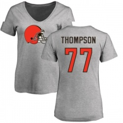 Women's Trenton Thompson Cleveland Browns Name & Number Logo Slim Fit T-Shirt - Ash