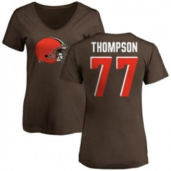 Women's Trenton Thompson Cleveland Browns Name & Number Logo Slim Fit T-Shirt - Brown