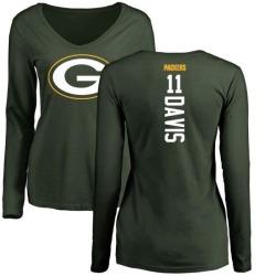 Women's Trevor Davis Green Bay Packers Backer Slim Fit Long Sleeve T-Shirt - Green
