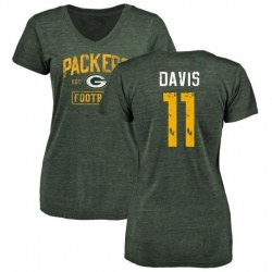 Women's Trevor Davis Green Bay Packers Green Distressed Name & Number Tri-Blend V-Neck T-Shirt