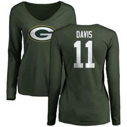 Women's Trevor Davis Green Bay Packers Name & Number Logo Slim Fit Long Sleeve T-Shirt - Green