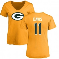 Women's Trevor Davis Green Bay Packers Name & Number Logo Slim Fit T-Shirt - Gold