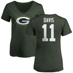 Women's Trevor Davis Green Bay Packers Name & Number Logo Slim Fit T-Shirt - Green