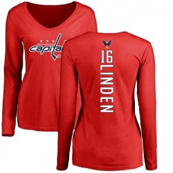 Women's Trevor Linden Washington Capitals Backer Long Sleeve T-Shirt - Red