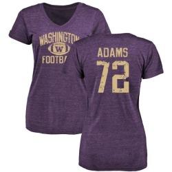 Women's Trey Adams Washington Huskies Distressed Football Tri-Blend V-Neck T-Shirt - Purple