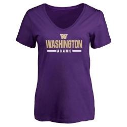 Women's Trey Adams Washington Huskies Sport V-Neck T-Shirt - Purple