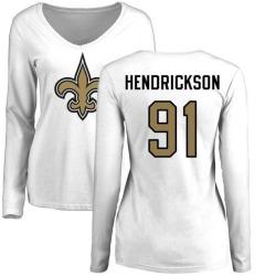 Women's Trey Hendrickson New Orleans Saints Name & Number Logo Slim Fit Long Sleeve T-Shirt - White
