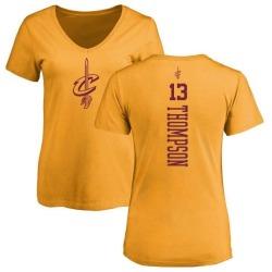Women's Tristan Thompson Cleveland Cavaliers Gold One Color Backer Slim-Fit V-Neck T-Shirt