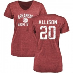 Women's Troy Allison Arkansas Razorbacks Distressed Basketball Tri-Blend V-Neck T-Shirt - Cardinal