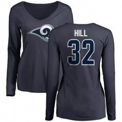 Women's Troy Hill Los Angeles Rams Name & Number Logo Slim Fit Long Sleeve T-Shirt - Navy